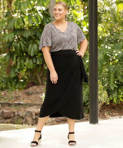 black wrap skirt with waist ties