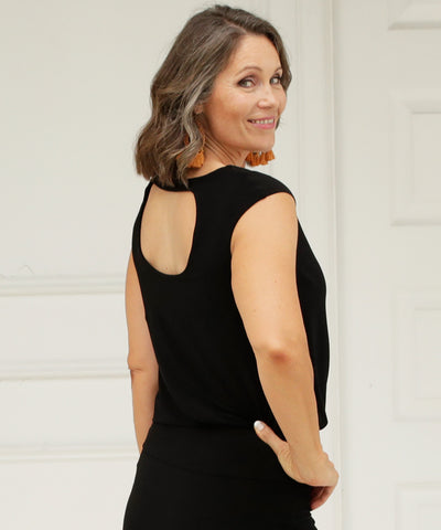 black summer top with beautiful back detail