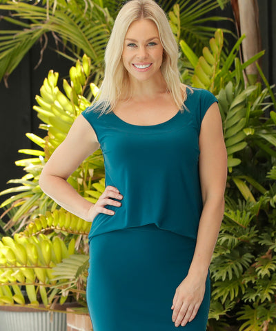 dark-teal summer top with beautiful back detail