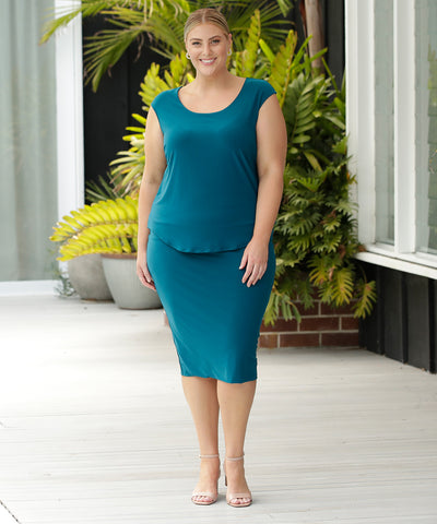 pull on dark teal tube skirt ideal for office and weekend