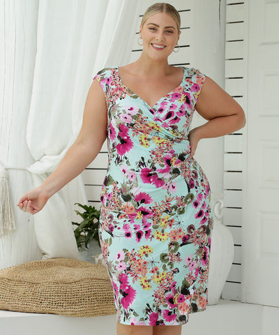 sleeveless fixed wrap summer dress with sweetheart neckline in bright floral print
