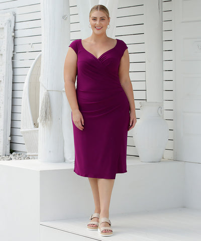 sleeveless fixed wrap summer dress with sweetheart neckline in magenta