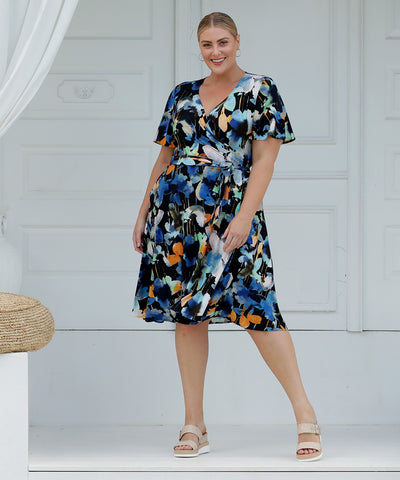 summer wrap dress with flutter sleeves in floral print