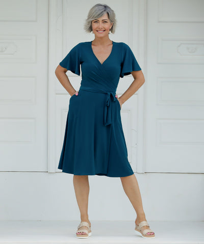 wrap dress with flutter sleeves in dark teal