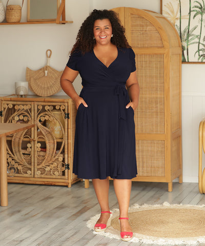 dark-navy summer wrap dress with pockets and short sleeves