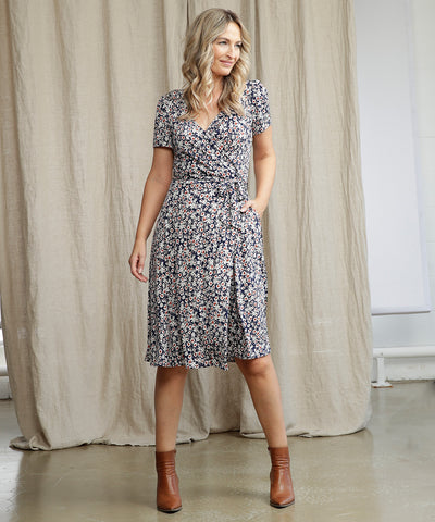 comfortable and flattering floral wrap dress with pockets