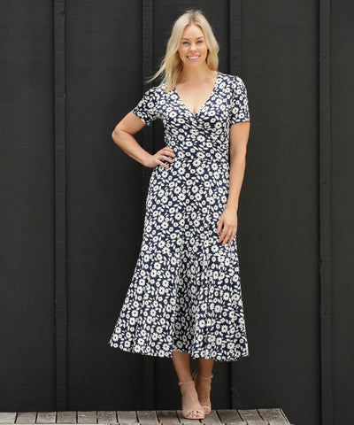 floral navy and white maxi dress with skirt ruffle