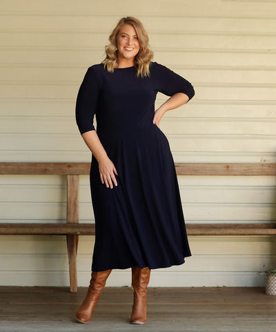 luxe navy winter dress with pockets