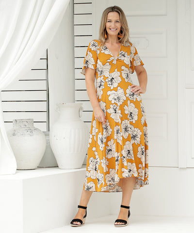 printed floral summer dress with flutter sleeves and twist front detail