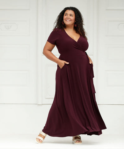 maxi length wrap dress with short sleeves in mulberry colour