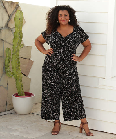 jumpsuit with wrap top and flutter sleeves