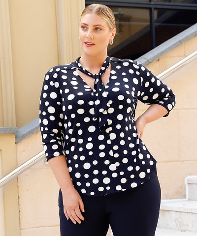 navy and white polka dot print tailored top with neck ties