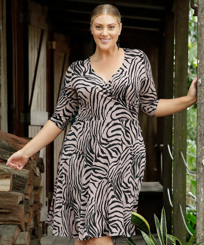animal print wrap dress with pockets