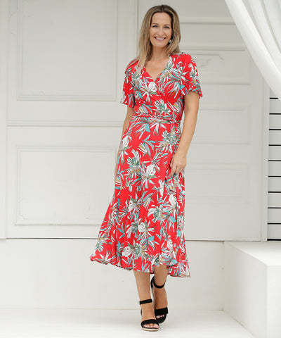red floral printed wrap dress with ruffle and flutter sleeve