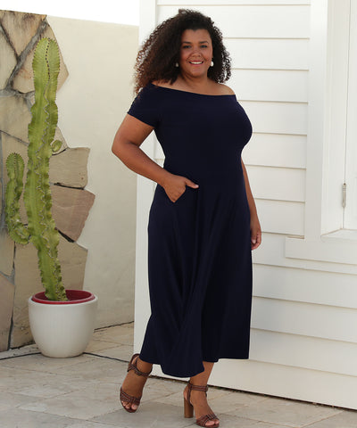 off the shoulder midi length dress with pockets in navy