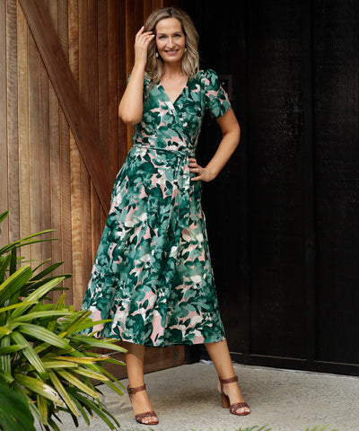 floral wrap dress with gathered sleeves and pockets