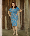 body-con short sleeve dress in blue print