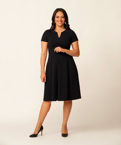 elegant work style dress with short sleeve and pockets