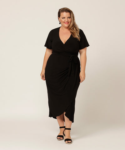 Stylish black wrap dress in jersey material made in australia