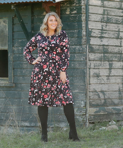 floral printed vintage inspired winter dress