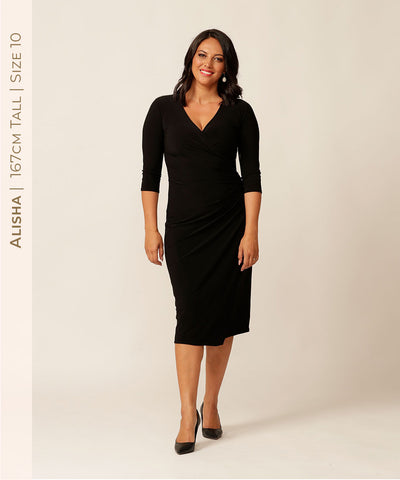 Modern sophisticated black dress for the modern professional woman
