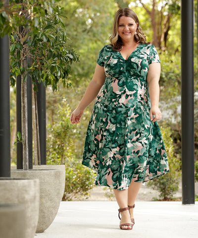 floral empire-line summer dress with twist bodice and short sleeves
