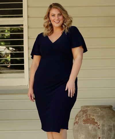navy fixed wrap dress with flutter sleeves