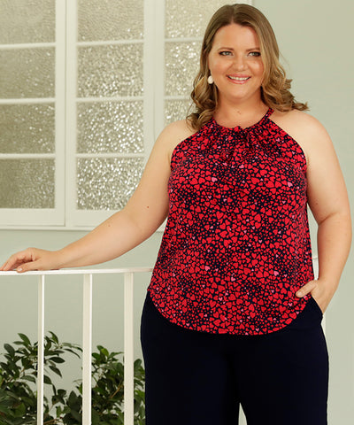 halter-neck summer top with neck tie in red and pink love-heart print