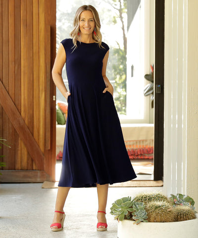 luxe navy summer dress with pockets