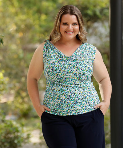 reversible summer top with a cowl neckline and twisted shoulder detail or boat-neck option in blue, green and yellow print