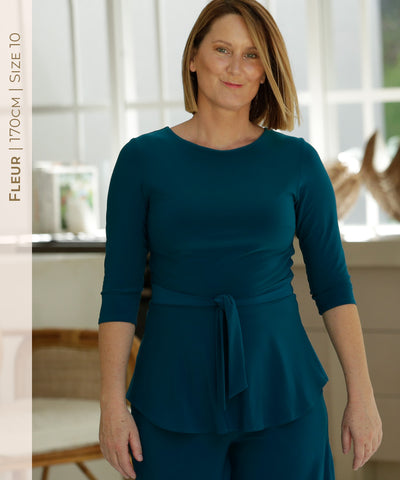 perfect winter top with double bodice and teal blue