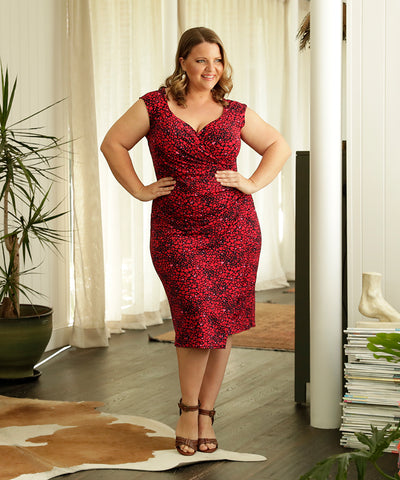 red and pink printed fixed wrap summer dress with sweet-heart neckline