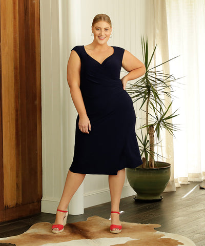 navy fixed wrap summer dress with sweet-heart neckline