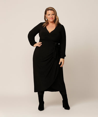 long sleeve black winter wrap dress