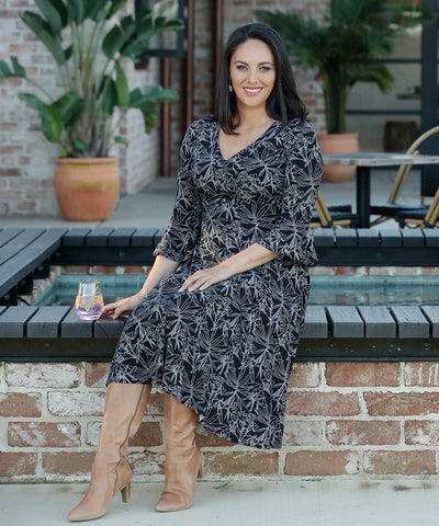 beautiful printed empire-line winter dress with fluted sleeves