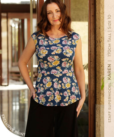 floral print sleeveless top with tie