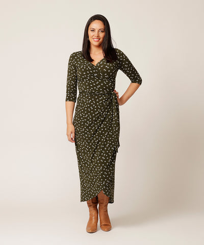 flattering printed winter wrap dress with 3/4 length sleeves