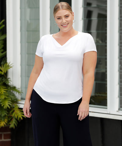 comfortable white summer top with soft cowl neck-line and tailored shape