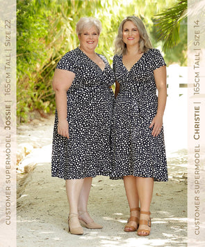 knee length wrap dress in navy spot