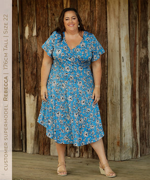 reversible vneckline dress with flared sleeve in floral print