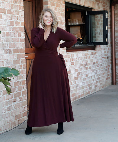 winter maxi wrap dress with tailored shirt bodice