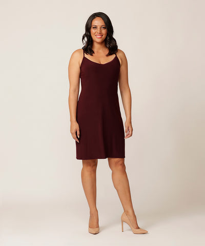 slinky black-cherry coloured slip-dress with V-neckline