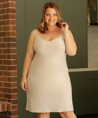 pearl coloured v-neck slip
