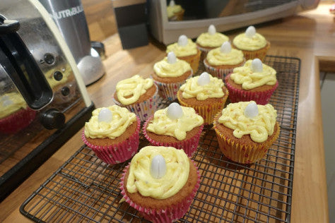 Right up my street Easter cupcakes with buttercream icing and Lavolio mini eggs