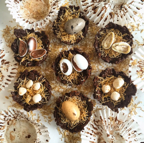 Idas Bageri Easter nests with chocolatey cornflake branches and a golden shredded wheat bedding & Lavolio mini eggs