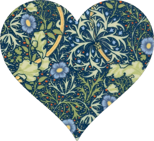 William Morris Seaweed design Lavolio confectionery collection heart shape