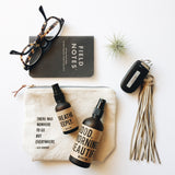 Spritz Travels Canvas Bag with Jack Kerouac Quote. Essential oil travel bag.