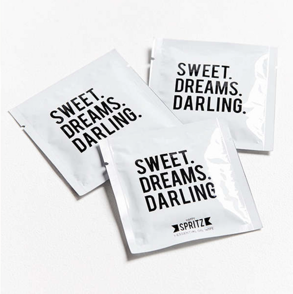 Sweet Dreams Darling Essential Oil Towelettes 7 Day Bag Happy Spritz