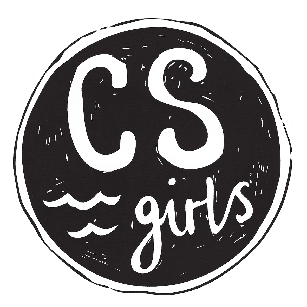 Csa girls round sticker black white