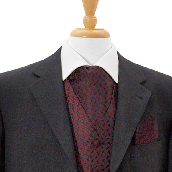 Ascot Cravat Black And Burgundy